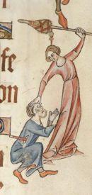 Woman hitting a man, Luttrell Psalter, British Library