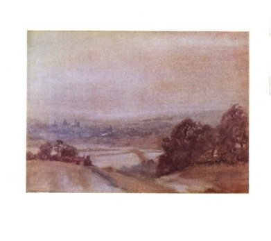 """William Russell Flint. Watercolour. """"The Line of festal light in Christ Church hall"""""""