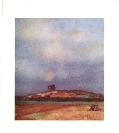 "William Russell Flint. Watercolour. ""Its fir-topped hurst, its farms, its quiet fields"""