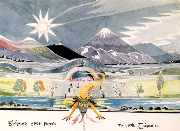 Glaurung sets forth to seek Turin, by Tolkien